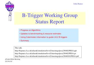 B-Trigger Working Group Status Report