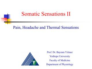 Somatic Sensations II Pain, Headache and Thermal Sensations