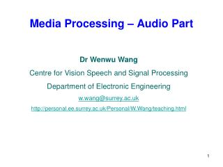 Media Processing – Audio Part