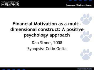 Financial Motivation as a multi-dimensional construct: A positive psychology approach