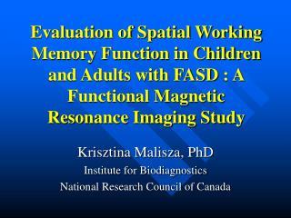 Krisztina Malisza, PhD Institute for Biodiagnostics National Research Council of Canada
