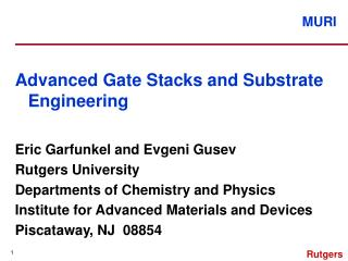 Advanced Gate Stacks and Substrate Engineering Eric Garfunkel and Evgeni Gusev Rutgers University