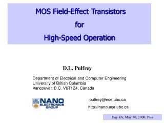 MOS Field-Effect Transistors for High-Speed Operation