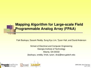 Mapping Algorithm for Large-scale Field Programmable Analog Array (FPAA)