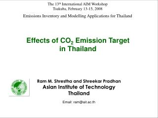 Emissions Inventory and Modelling Applications for Thailand