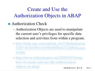 Create and Use the  Authorization Objects in ABAP