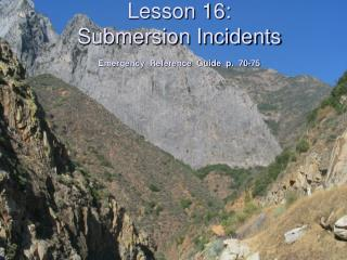 Lesson 16: Submersion Incidents  Emergency  Reference  Guide  p.  70-75