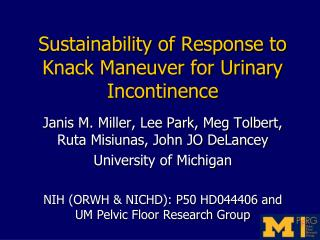 Sustainability of Response to Knack Maneuver for Urinary Incontinence