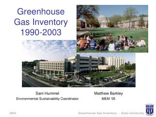 Greenhouse Gas Inventory 1990-2003