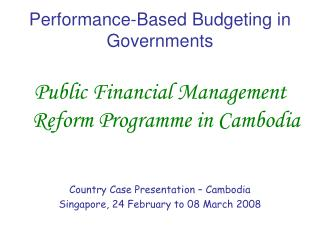 Performance-Based Budgeting in Governments