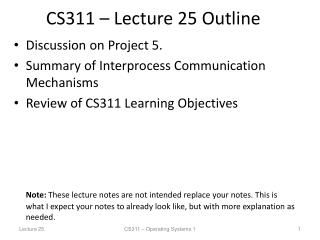 CS311 – Lecture 25 Outline