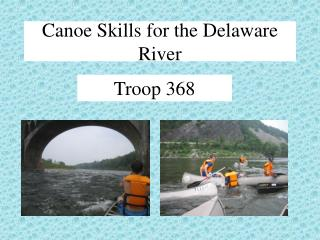 Canoe Skills for the Delaware River