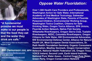 Oppose Water Fluoridation: