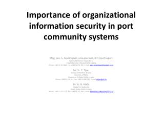 Importance of organizational information security in port community systems