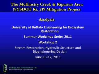 The McKinstry Creek & Riparian Area  NYSDOT Rt. 219 Mitigation Project Analysis