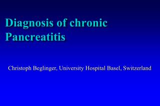 Diagnosis of chronic Pancreatitis