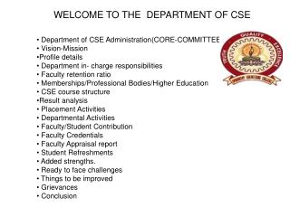 WELCOME TO THE  DEPARTMENT OF CSE