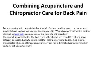 Combining Acupuncture and Chiropractor Care for Back Pain