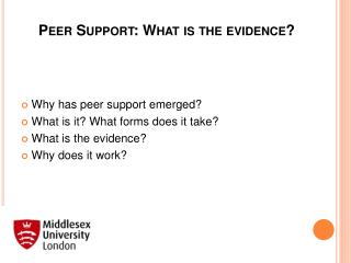 Peer Support: What is the evidence?