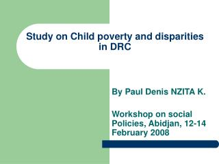 Study on Child poverty and disparities in DRC