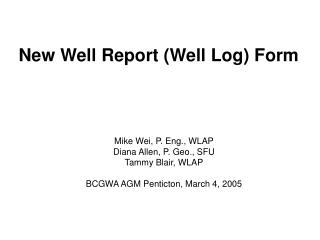 New Well Report (Well Log) Form