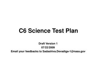 C6 Science Test Plan