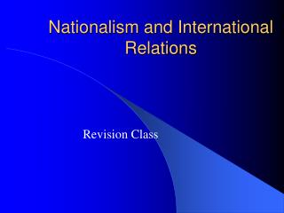 Nationalism and International Relations