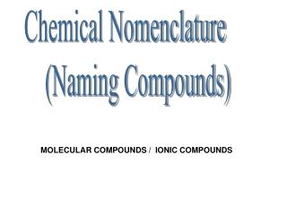 Chemical Nomenclature (Naming Compounds)