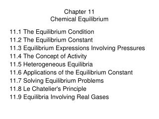 Chapter 11 Chemical Equilibrium