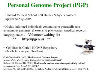 Personal Genome Project (PGP)