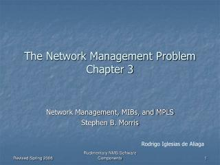The Network Management Problem Chapter 3
