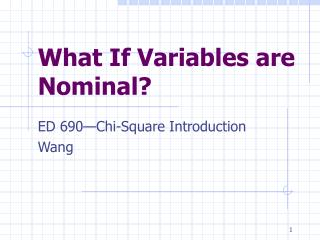 What If Variables are Nominal?
