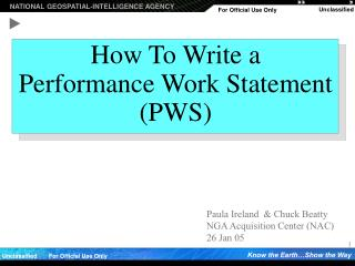 How To Write a  Performance Work Statement PWS