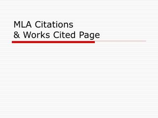 MLA Citations & Works Cited Page