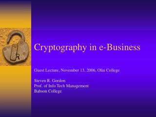 Cryptography in e-Business