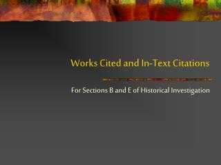 Works Cited and In-Text Citations