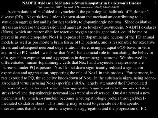NADPH Oxidase 1 Mediates a- Synucleinopathy in Parkinson's Disease