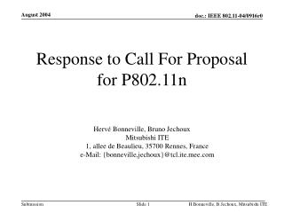 Response to Call For Proposal for P802.11n