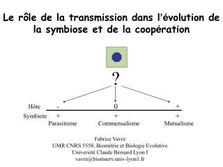 Le r ôle de la transmission dans l 'é volution de la symbiose et de la coop é ration