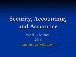 Security, Accounting, and Assurance
