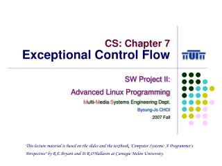 CS: Chapter 7 Exceptional Control Flow