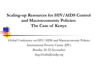 Scaling-up Resources for HIV/AIDS Control and Macroeconomic Policies:  The Case of Kenya