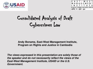 Consolidated Analysis of Draft Cybercrimes Law