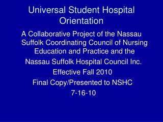Universal Student Hospital Orientation