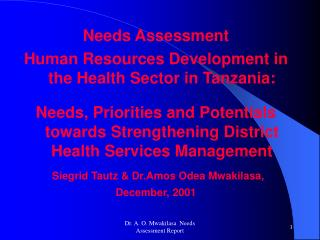 Needs Assessment  Human Resources Development in the Health Sector in Tanzania: