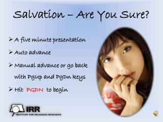 Salvation – Are You Sure?