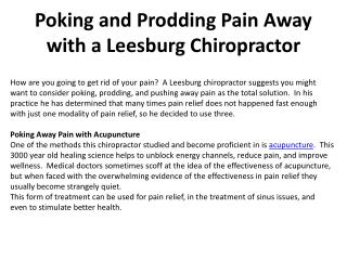 Poking and Prodding Pain Away with a Leesburg Chiropractor