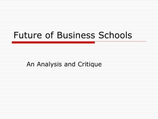 Future of Business Schools