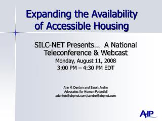 Expanding the Availability of Accessible Housing