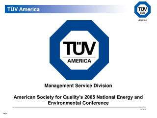 Management Service Division  American Society for Quality's 2005 National Energy and Environmental Conference